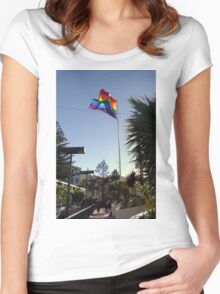 The Rainbow Flag Backlit Women's Fitted Scoop T-Shirt