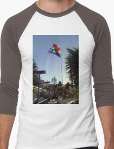 The Rainbow Flag Backlit Men's Baseball ¾ T-Shirt