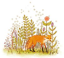 Fox and Flowers by Leslie Evans