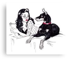 Doberman and PinUp Canvas Print