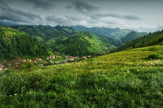 A small village in the valley, Romania by Antanas