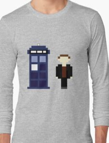 Pixel 9th Doctor and TARDIS Long Sleeve T-Shirt