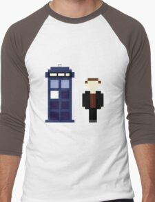 Pixel 9th Doctor and TARDIS Men's Baseball ¾ T-Shirt