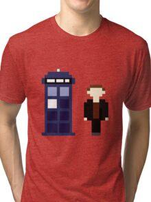 Pixel 9th Doctor and TARDIS Tri-blend T-Shirt
