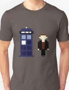 Pixel 9th Doctor and TARDIS Unisex T-Shirt
