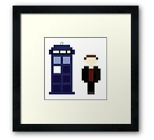 Pixel 9th Doctor and TARDIS Framed Print