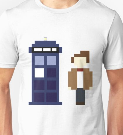 Pixel 11th Doctor and TARDIS Unisex T-Shirt