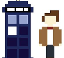 Pixel 11th Doctor and TARDIS by ObscureM
