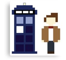 Pixel 11th Doctor and TARDIS Canvas Print