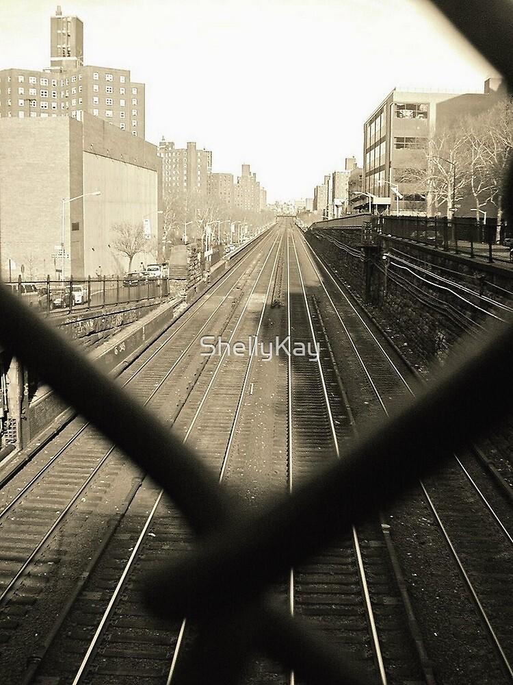 train tracks through chain link fence by ShellyKay