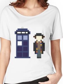 Pixel 4th Doctor and TARDIS Women's Relaxed Fit T-Shirt