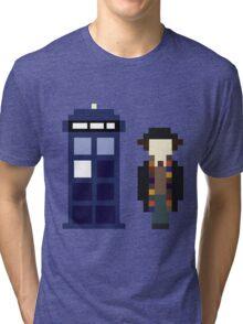 Pixel 4th Doctor and TARDIS Tri-blend T-Shirt