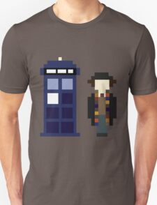 Pixel 4th Doctor and TARDIS Unisex T-Shirt