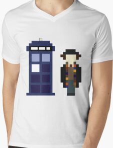Pixel 4th Doctor and TARDIS Mens V-Neck T-Shirt