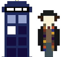 Pixel 4th Doctor and TARDIS by ObscureM