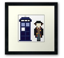 Pixel 4th Doctor and TARDIS Framed Print