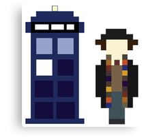 Pixel 4th Doctor and TARDIS Canvas Print