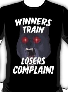 Winners Train Gym Sports Motivational Quote T-Shirt