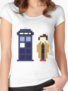 Pixel 10th Doctor and TARDIS Women's Fitted Scoop T-Shirt