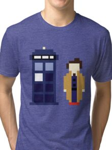 Pixel 10th Doctor and TARDIS Tri-blend T-Shirt