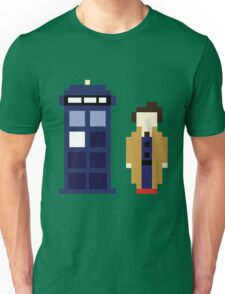 Pixel 10th Doctor and TARDIS Unisex T-Shirt