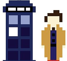 Pixel 10th Doctor and TARDIS by ObscureM