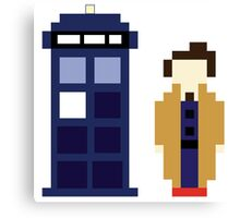 Pixel 10th Doctor and TARDIS Canvas Print