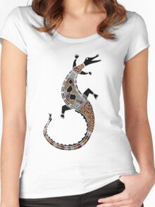 Aboriginal Art - Crocodile Authentic Designs Women's Fitted Scoop T-Shirt