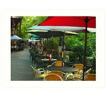 Dining Under The Umbrellas Art Print