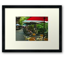 Dining Under The Umbrellas Framed Print