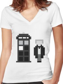 Pixel 1st Doctor and TARDIS Women's Fitted V-Neck T-Shirt