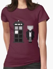 Pixel 1st Doctor and TARDIS Womens Fitted T-Shirt