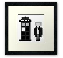 Pixel 1st Doctor and TARDIS Framed Print