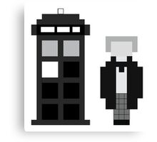 Pixel 1st Doctor and TARDIS Canvas Print