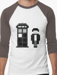 Pixel 2nd Doctor and TARDIS Men's Baseball ¾ T-Shirt