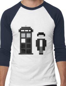 Pixel 2nd Doctor and TARDIS Men's Baseball ¾ T-Shirt