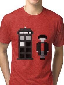 Pixel 2nd Doctor and TARDIS Tri-blend T-Shirt