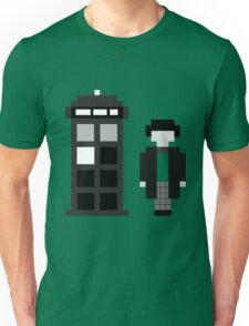 Pixel 2nd Doctor and TARDIS Unisex T-Shirt