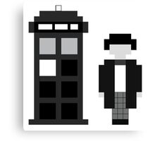 Pixel 2nd Doctor and TARDIS Canvas Print