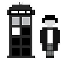 Pixel 2nd Doctor and TARDIS Photographic Print