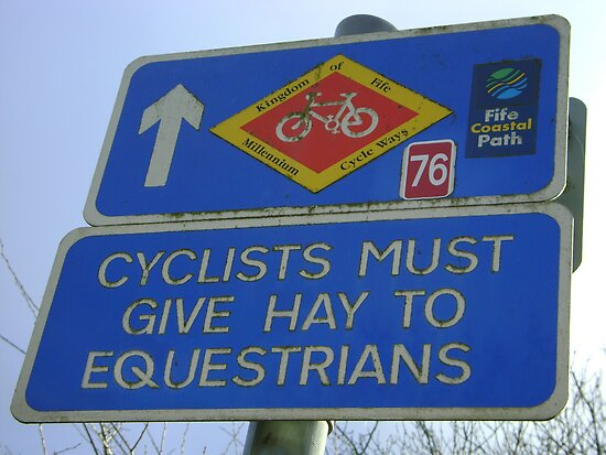 Cyclists must give Hay to Equestrians (cycleway sign) by armadillozenith