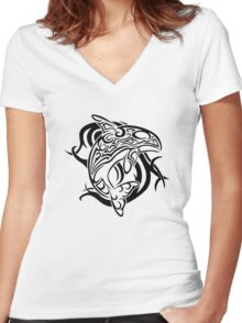 Tribal Orca Women's Fitted V-Neck T-Shirt