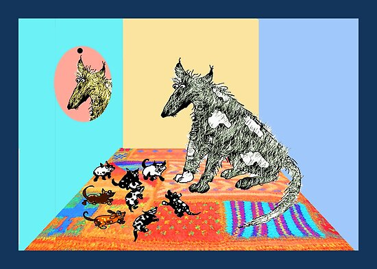 Dog Family, sitting on knitted  rug. by Mary Taylor