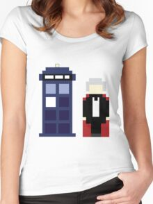 Pixel 3rd Doctor and TARDIS Women's Fitted Scoop T-Shirt