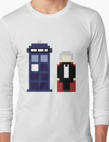 Pixel 3rd Doctor and TARDIS Long Sleeve T-Shirt