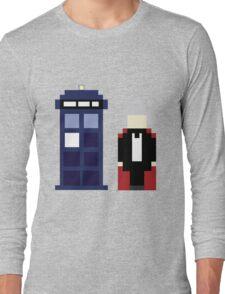 Pixel 3rd Doctor and TARDIS Long Sleeve T-Shirt