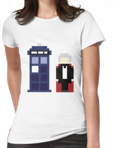 Pixel 3rd Doctor and TARDIS Womens Fitted T-Shirt