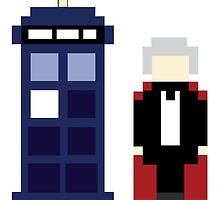 Pixel 3rd Doctor and TARDIS by ObscureM