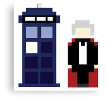Pixel 3rd Doctor and TARDIS Canvas Print