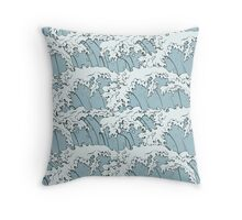 Japanese Waves Art Throw Pillow